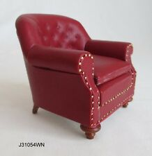 DOLLHOUSE MINIATURE - 1880's Club Chair Red Leather - GREAT FOR SANTA! 1:12