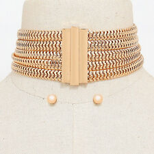 "12.50"" gold thick 5 row choker collar necklace .30"" earrings layered 1.80""  wide"