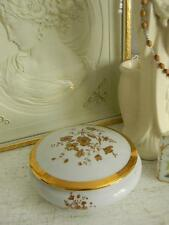 Beautiful Lg. Vintage Limoges France Porcelain Powder Box~Signed~Gold Overlay