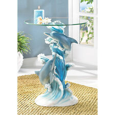 PLAYFUL DOLPHINS ACCENT END TABLE ROUND GLASS TOP NAUTICAL BEACH OCEAN~38425