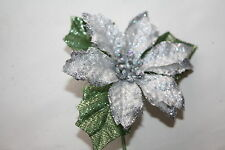 6 x SMALL SILVER GLITTER SATIN POINSETTIA FLOWERS 6cm GREEN LEAVES WIRED STEMS