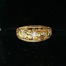 JABEL 18K YELLOW GOLD DIAMOND FLORAL SCROLL BAND RING SIZE 6.25