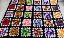 Granny Square Hand Crocheted Afghan Multi Colored Squares Throw Handmade