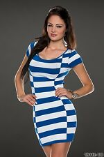 Party Club Wear Elegant White/Blue Horizontal Stripes Mini Dress UK size 10-12