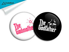 Godfather Godmother Badge Combo Big 2-1/4 inch 58mm Button Pinback Button Metal