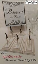 Large Menu card table name/number sign holder wedding. Aged effect, Double clip