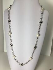 "Sterling Silver Bead & Freshwater Culture Pearl Station 19"" Necklace"
