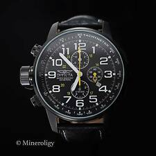 Invicta I-Force Leather Strap Chronograph Tachymeter Black Dial Lefty Mens Watch