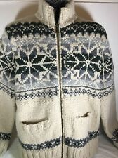 Eddie Bauer Fair isle Print Jacket Sweater Hand Knit Wool Heavy Winter Snowflake
