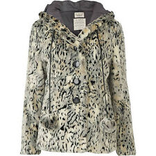 BNWT RIVER ISLAND SIZE 10 FUR HOODED COAT LEOPARD PRINT JACKET WOMEN LADIES GIRL
