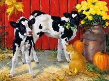 3D Lenticular Picture ginger cat kitten with cow calves 39 x 29 cm