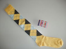Knee High Cycling Golf Extra Long Plus Four/Breek Argyle Socks Yellow size 6 -11