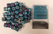 Chessex Dice d6 Sets Gemini Purple &Teal  Gold 12mm Six Sided Die 36 CHX 26849