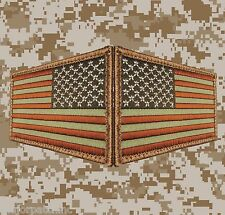 USA US AMERICAN FLAG REVERSE LEFT RIGHT ARMY SHOULDER DESERT HOOK 2 PATCHES