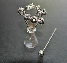 10 antique silver tone dome head pins ornate fancy floral  pins