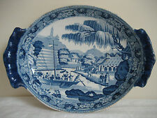 ANTIQUE DAVENPORT B & W PEARLWARE CHINESE HARBOUR SERVING DISH C 1793 - 1810