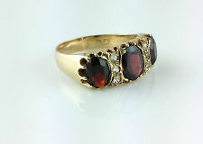 Vintage 9ct Yellow Gold Three Stone Garnet Ring  - Size Q