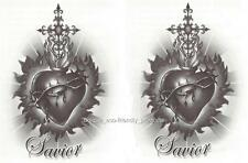 LOT 2 Cross Heart Savior Temporary Tattoo NEW!