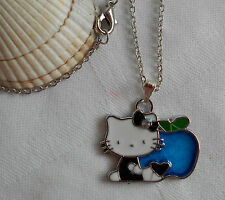 "Kids childrens girls Hello Kitty with an apple necklace 16"" long"