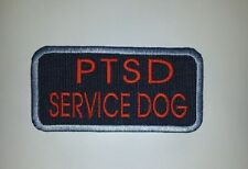 """Blue Red Embroidered Sew-On Patch 4 x 2""""  - PTSD SERVICE DOG"""