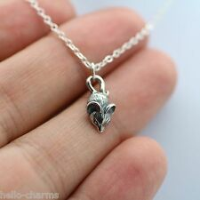 MOUSE NECKLACE - 925 Sterling Silver - *NEW Mouse Cheese Cute Charm Pendant Mice