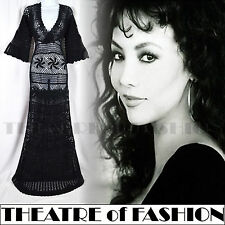 VINTAGE 70s DRESS MONSOON CROCHET S M UK 8 10 12 BLACK LACE WEDDING 30s BOHO 60s