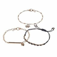 NWT Juicy Couture Crown Charm, Pave Bar & Woven Bracelet Set