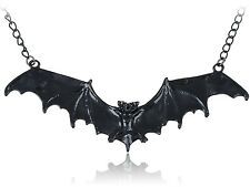 Halloween Enamel Paint Flying Bat Metal Chain Necklace Pendant Silver Stainless