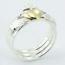 Silver ring stackable 925 sterling Claddagh  3 rings in 1 heart celtic size 6us
