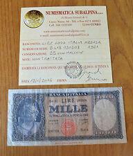 REPUBBLICA LIRE 1000 ITALIA MEDUSA 1961 BB NON TRATTATA SUBALPINA