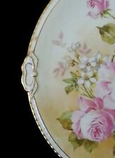 Exquisite antique Limoges France porcelain scalloped hand painted dish Roses