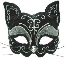 GLITTER CAT MASK MASQUERADE EYE MASK HEADBAND, HALLOWEEN FANCY DRESS,CATWOMAN