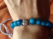 NUOVO Semi Preziose Pietra Braccialetto Blu con Perline Ciondolo Gatto