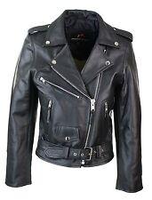 Signore Donne Classico Brando Stile Biker Motocicletta Moto hide Leather Jacket