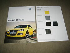 VW Golf V GTI Pirelli folleto brochure de 11/2007, 16 páginas