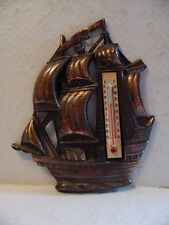 Vintage Metal Copper Colored Ship Boat Wall Thermometer Made In Japan