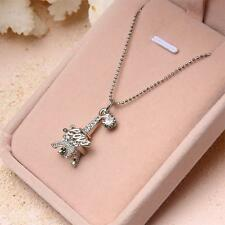 Eiffel Tower Paris Pattern Crystal Pendant Silver Chain Necklace Lover Girl Gift