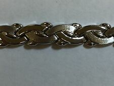 14k white gold fancy link bracelet cute! 12.3 grams frosted and high polish
