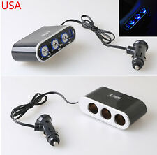 LED Light Switch+3 Way Car Cigarette Lighter Socket Splitter Charger 12V/24