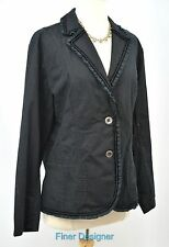 CHICOS jacket light coat blazer stretch cotton ruffle top button Chico SZ 2 M L