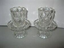 PARTYLITE ~ (2) QUILTED CRYSTAL PEGLITES & BASES glass votive candle cups