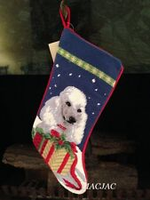 White Poodle Dog Needlepoint Christmas Stocking NWT