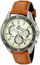 Casio Men's 'Edifice' Quartz Stainless Steel and Leather Automatic Watch, Col...