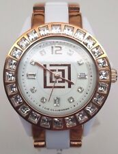 Liz Claiborne LC1082 White Ceramic Rose Gold Tone Crystal Women's Watch