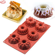 6 Cavity Silicone Mold Mini Bundt Savarin Cake Muffin Chocolate Baking Pan Mould