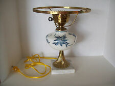"Vintage 12"" Table Lamp Marble Base painted milk glass & 10"" shade ring"
