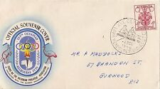Stamp 1956 Olympic Games 4d on souvenir cover Lake Wendouree rowing postmark