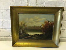 Antique Finely Done Oil on Canvas Landscape Painting w/ Calm Body of Water