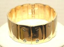 Goldtone Clamper Bracelet Faux Straight Head Screw Top Design