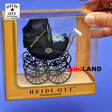 XZ108 Heidi Ott DollHouse miniature1:12 victorian antique Pram navy blue